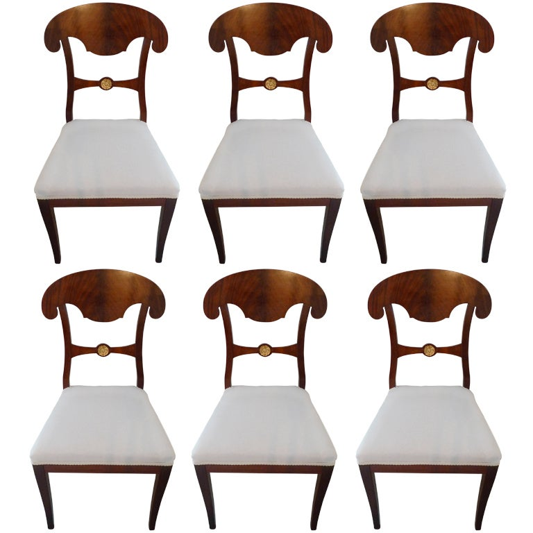 Set of 6 Empire Dining Chairs For Sale