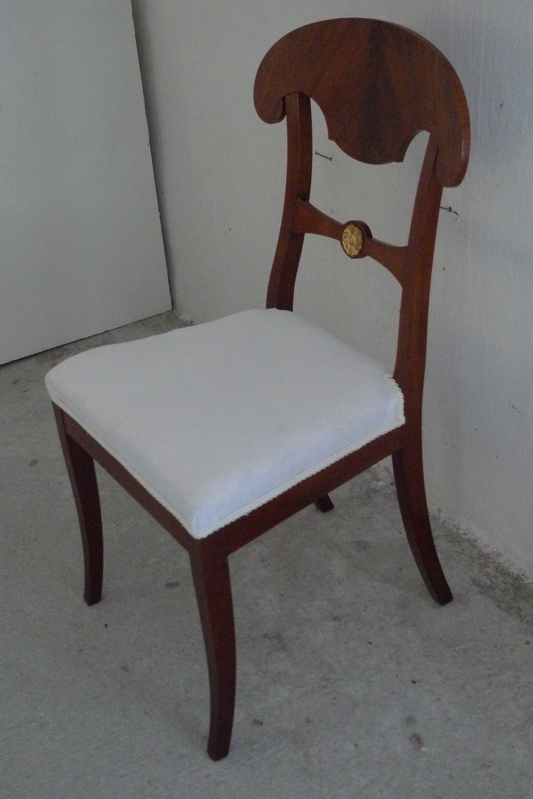 Swedish Set of 6 Empire Dining Chairs For Sale