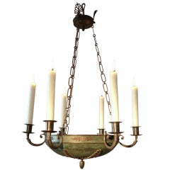 Green Patinated Brass Chandelier