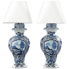 Pair of Fajance Lamps