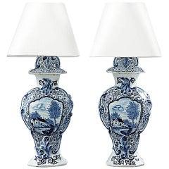 Pair of Fajance Lamps
