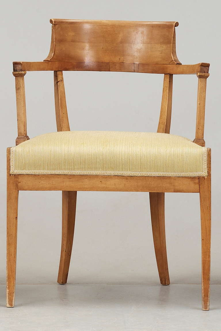 A single Empire desk chair made during the Empire period early 1800's in Sweden.
