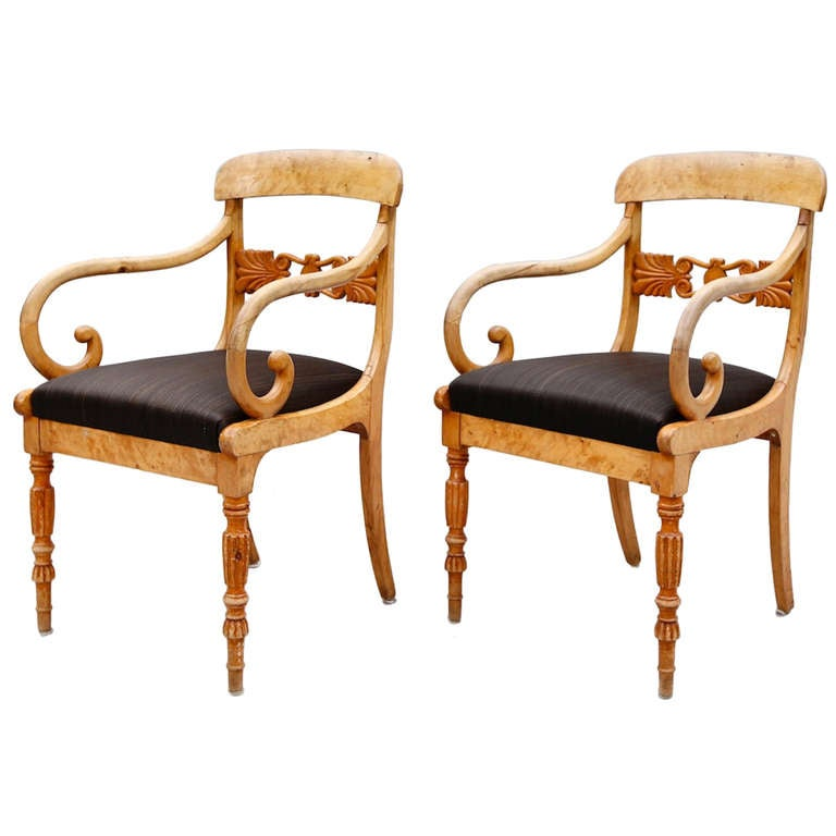 Pair of Biedermeier Armchairs For Sale