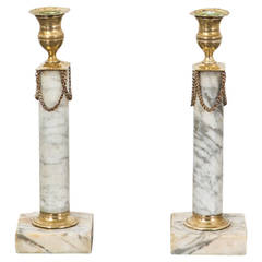 Pair of Neoclassical Marble Candlesticks