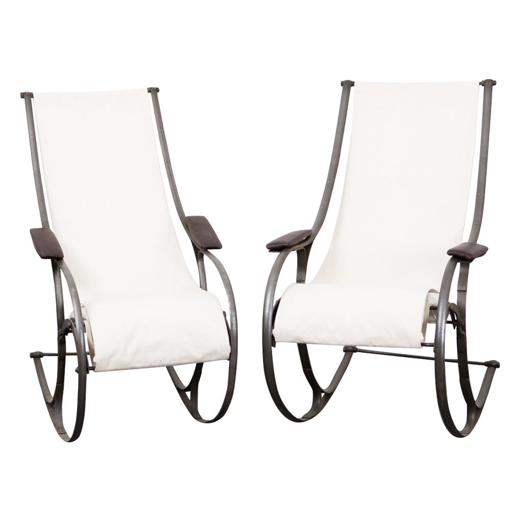 Chairs Rocking English 19th Century White Fabric Metal Frame France A Pair Of Beautiful Steel