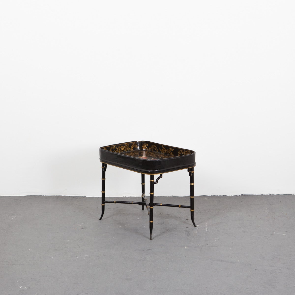 Neoclassical Black Lacquered Tray Table In Faux Bamboo For Sale