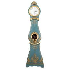 Clock Grandfather Swedish Rococo Blue 18th Century Sweden