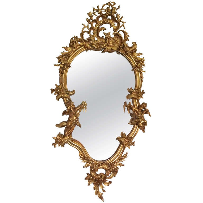Rococo style gilded mirror for sale at 1stdibs for Gilded baroque mirror