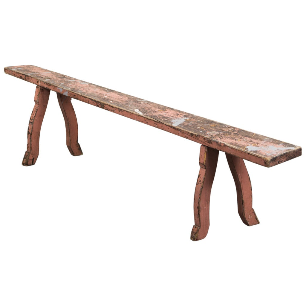 Bench Swedish 19th Century Distressed Pink Paint Sweden