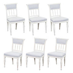 Set of 6 Gustavian Dining Chairs Signed