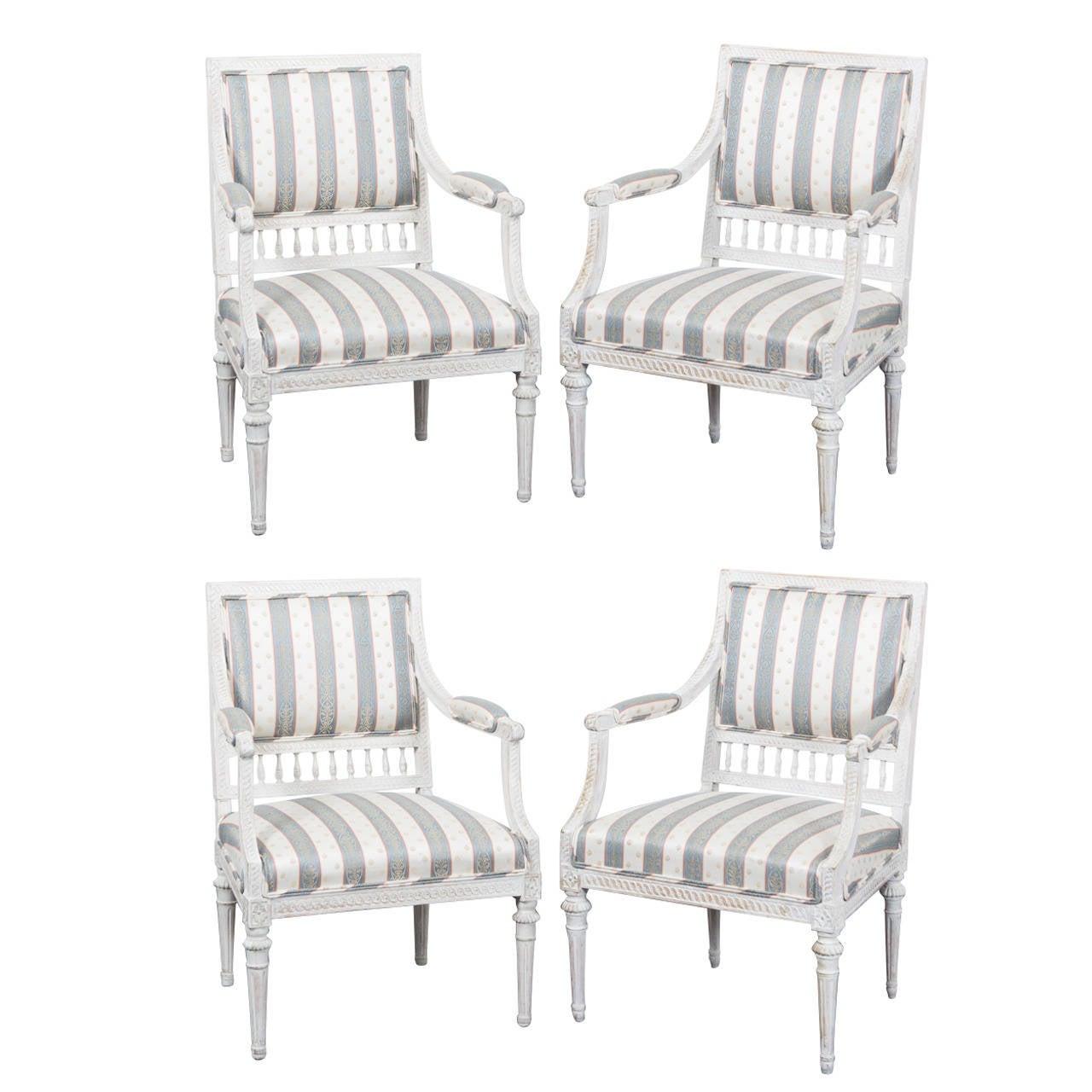 Armchairs Set of Four Swedish Gustavian Period Signed Johan Lindgren Sweden