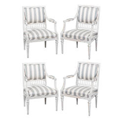 Armchairs Set of Four Swedish Gustavian Period Signed Johan Lindgren Sweden