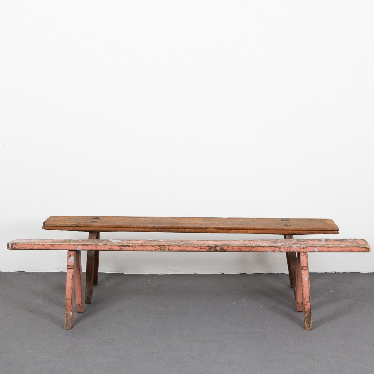 Swedish Bench With Pink Paint Leftovers For Sale At 1stdibs