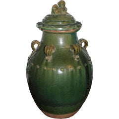 A Green Glaced Ming Urn with Lid