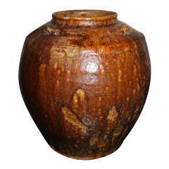 Urn Chinese Glazed Brown Ming China