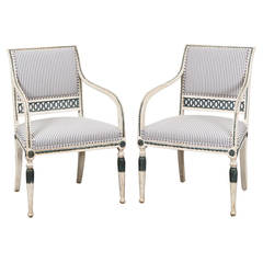 Armchairs Swedish Gustavian / Neoclassical 19th Century Ephraim Stahls Sweden