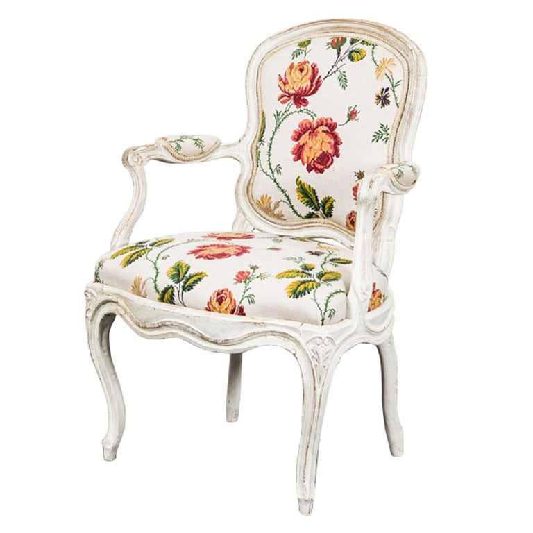 Armchair Swedish Rococo 18th Century Flowers Yellow Sweden