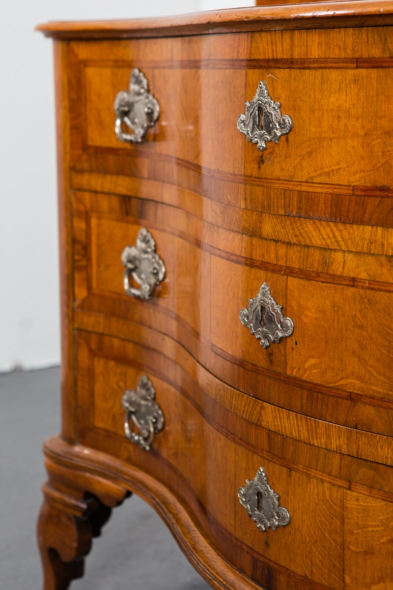 Chest of Drawers in Late Baroque Style with Silver Hardware In Excellent Condition For Sale In New York, NY