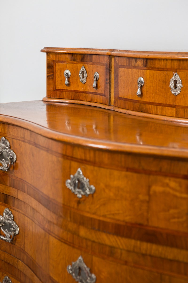 Veneer Chest of Drawers in Late Baroque Style with Silver Hardware For Sale