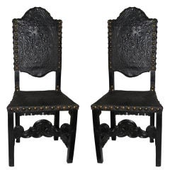 Pair of Italian Leather Original Upholstered Chairs