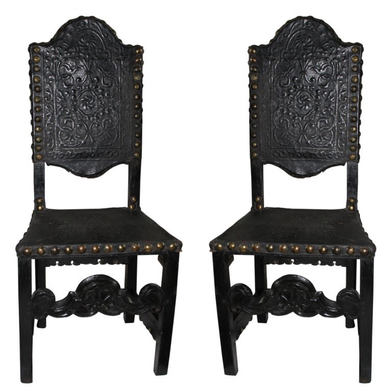 Chairs Italian 19th Baroque Style Black Leather Century Italy  1