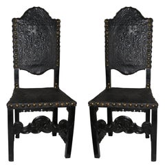 Chairs Italian 19th Baroque Style Black Leather Century Italy
