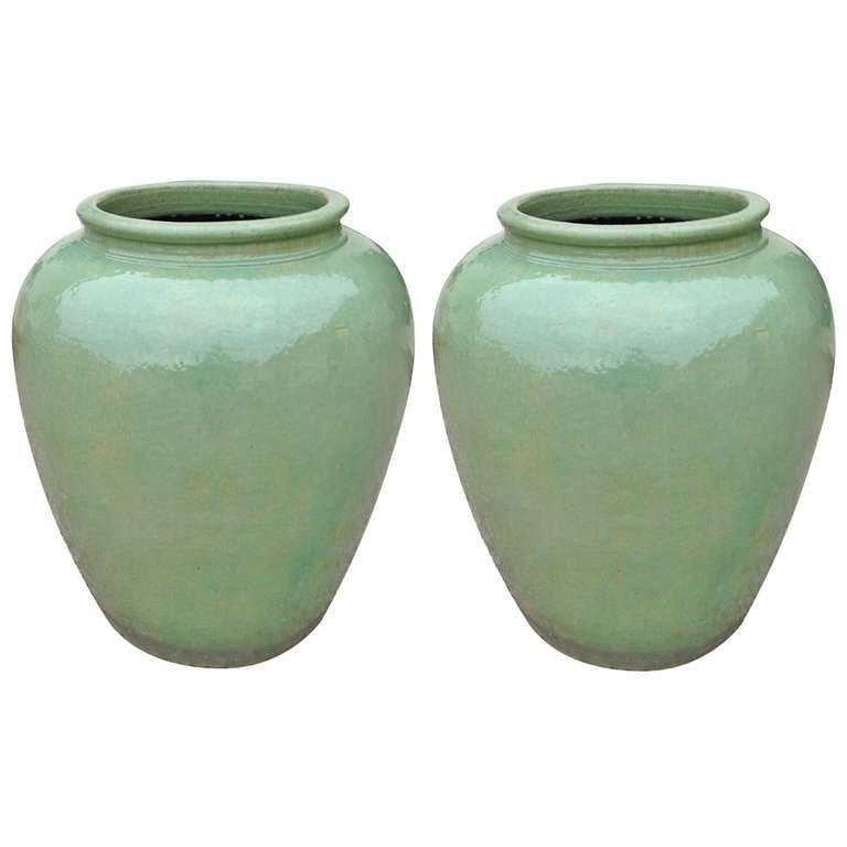 Pair of Over Dimensioned Celadon Urns