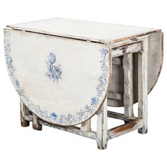 Table Drop-Leaf Swedish 18th Century White and Blue  Delft Inspired Decor Sweden