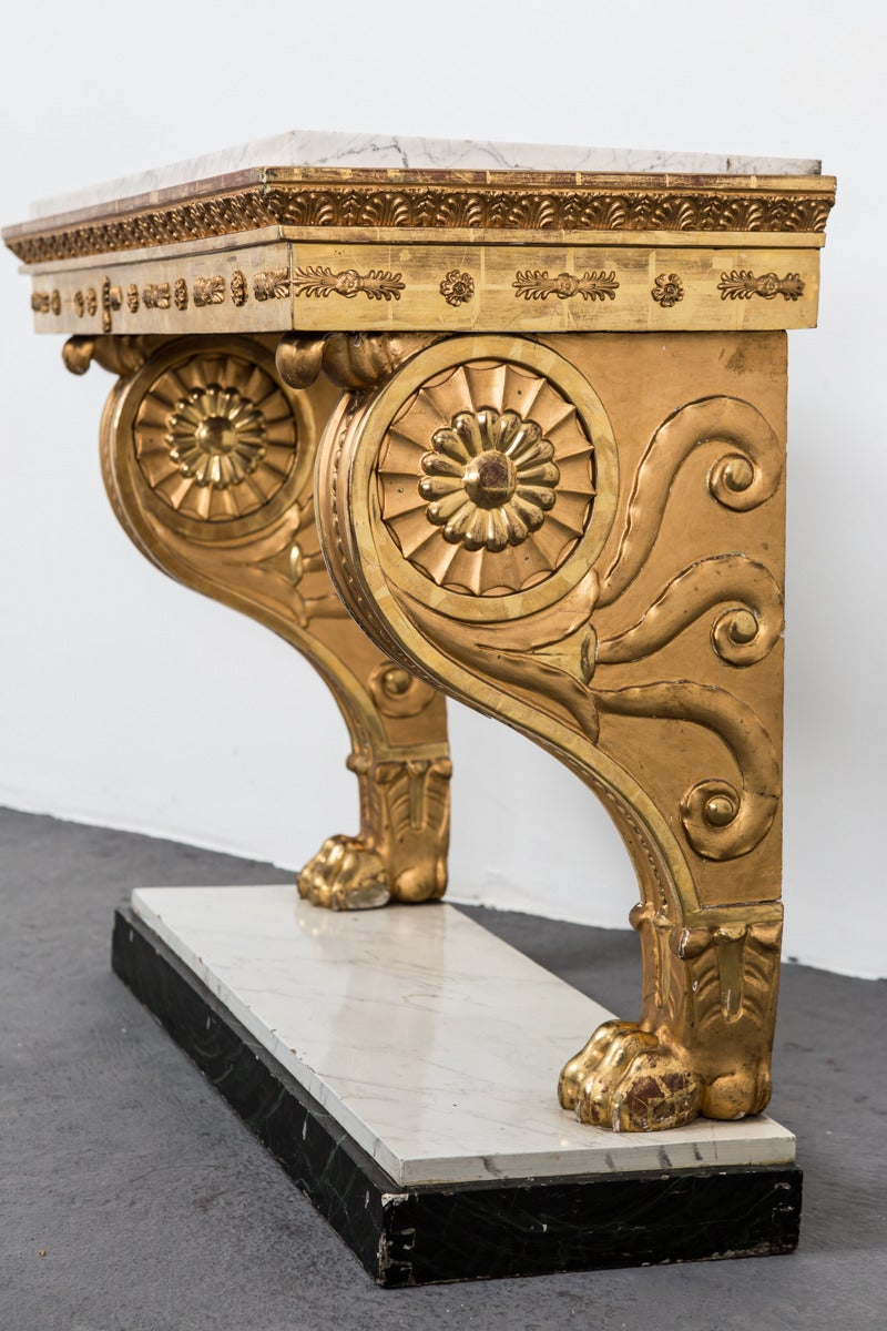 Table Console Swedish Gilded Carrara Marble Top Empire Neoclassical Sweden For Sale 2