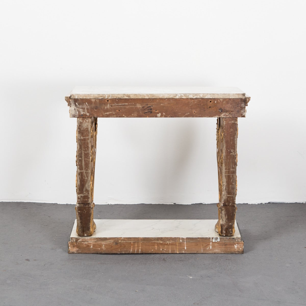 19th Century Table Console Swedish Gilded Carrara Marble Top Empire Neoclassical Sweden For Sale