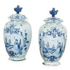 Pair of Dutch Faience Urns