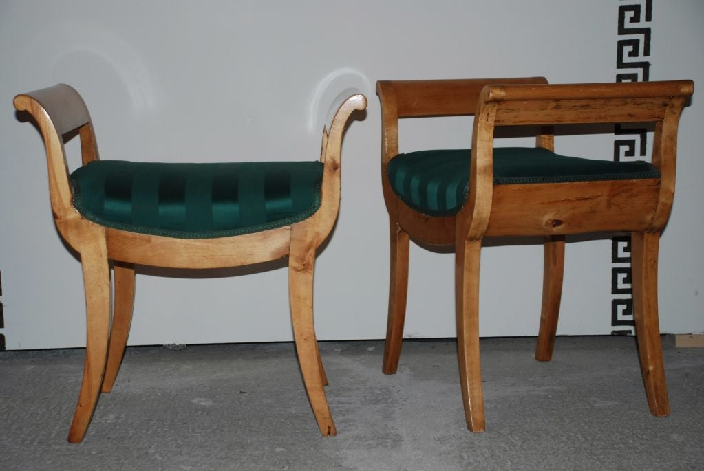 A pair of beautiful period Karl Johan stools/benches made in Birch veneer - original finish. Made in Sweden ca 1820-1830.