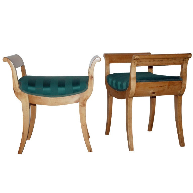 A Pair of Swedish Birch Stools For Sale