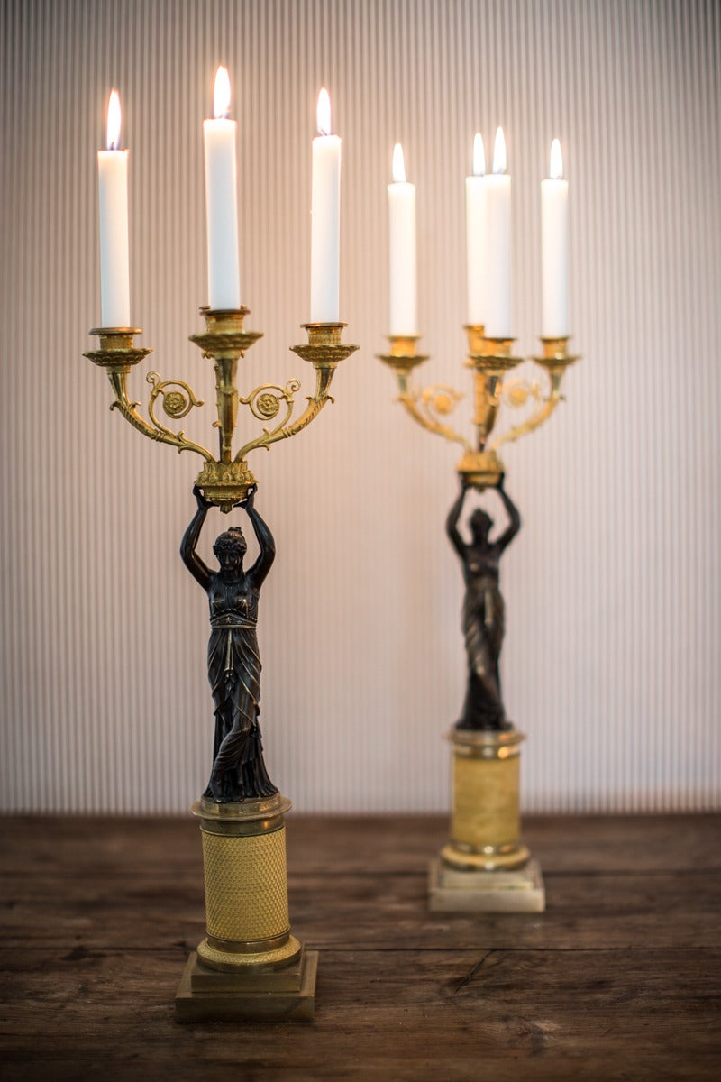 A Pair of French Empire Period Candelabras In Good Condition For Sale In New York, NY