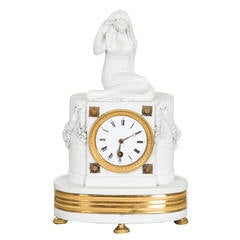 Mantle Clock French Neoclassical White Gilt bronze France
