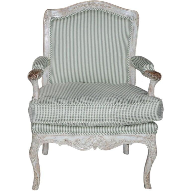 Armchair Swedish Rococo White Green 18th Century Sweden