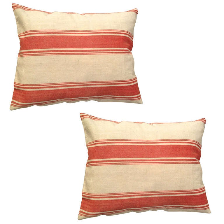 Pair of Pillows Made from Swedish Fabric For Sale