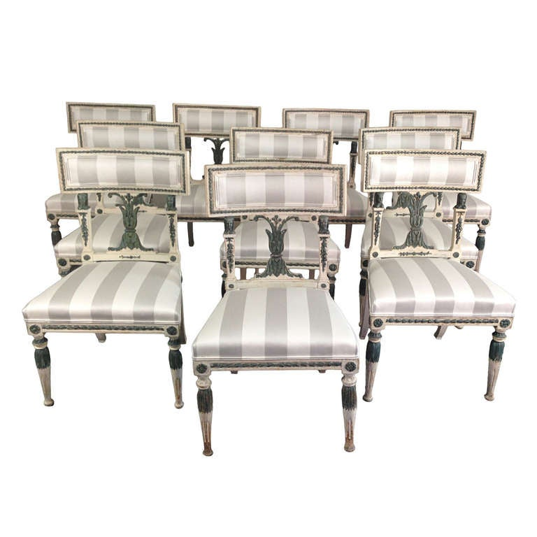 Set Of 10 Swedish Neoclassical Dining Chairs For Sale At