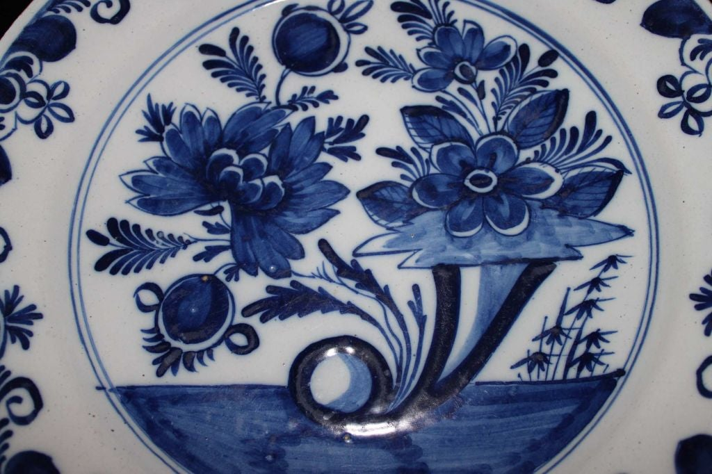 Rococo Plates Pair Delft Blue and White 18th Century Holland  For Sale