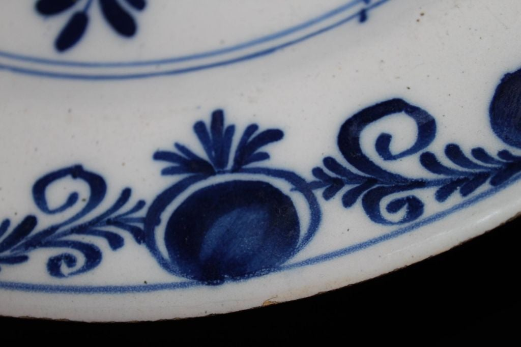 Dutch Plates Pair Delft Blue and White 18th Century Holland  For Sale