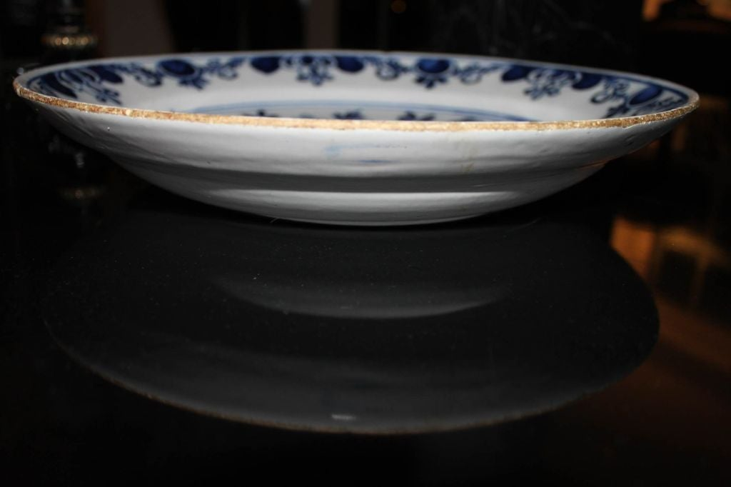 18th Century and Earlier Plates Pair Delft Blue and White 18th Century Holland  For Sale