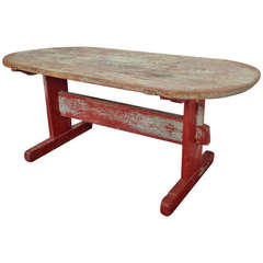 Swedish Trestle Table with Red Base