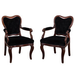 Pair of Rococo Style Arm Chairs