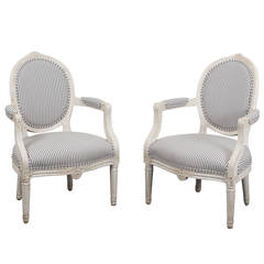 Armchairs Pair of Swedish Gustavian, 18th Century, Sweden