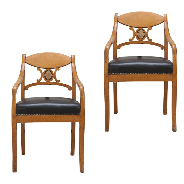A Pair of Swedish Karl Johan Armchairs 1