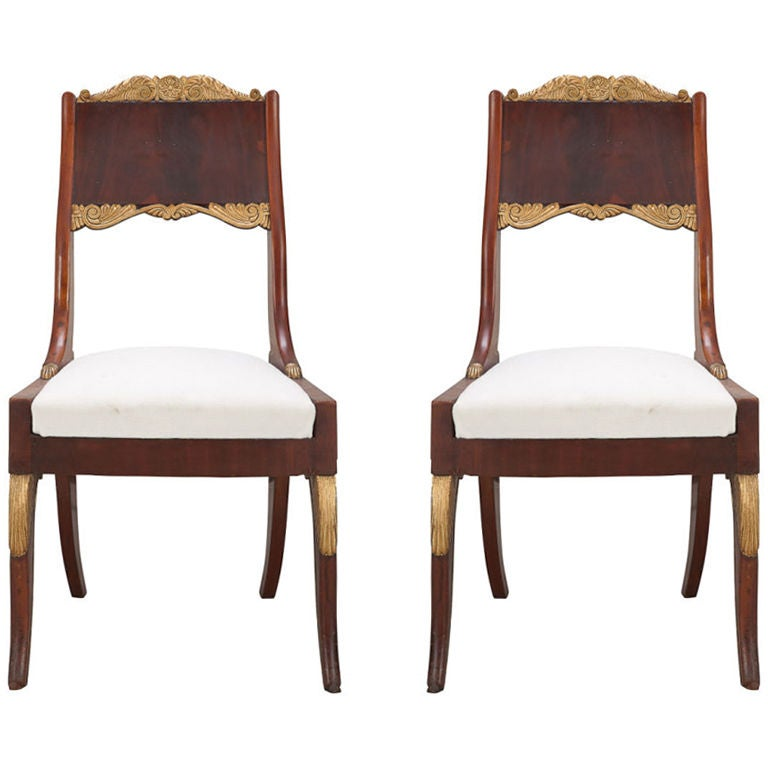 Pair of Russian Empire Mahogany Side Chairs For Sale