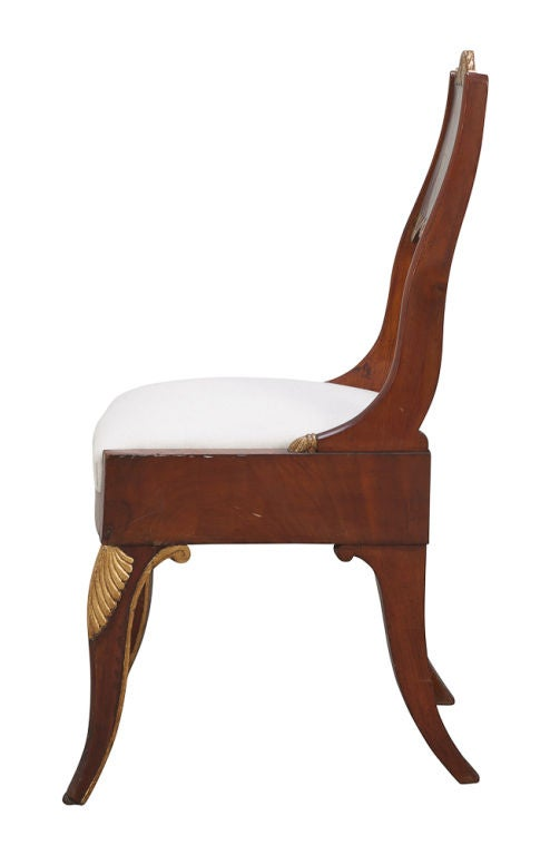 19th Century Pair of Russian Empire Mahogany Side Chairs For Sale