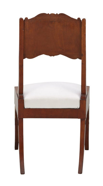 Pair of Russian Empire Mahogany Side Chairs For Sale 1