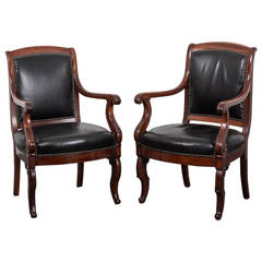 Armchairs Pair French Directoire Mahogany Black Leather France