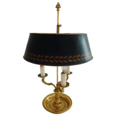 Lamp Table 19th Century Gilt bronze Metal Shade Neoclassical France